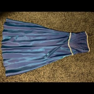 Mermaid blue 2 piece corset and skirt formal gown